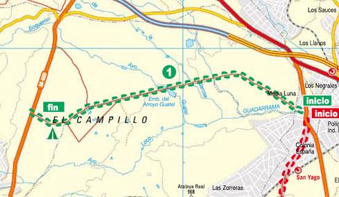 Mapa ruta hacia El Escorial