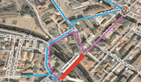 Mapa del tramo cortado de la Calle Real